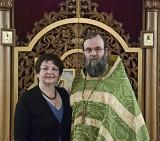 Choir Director Lucy Ireland with Fr. Bohdan